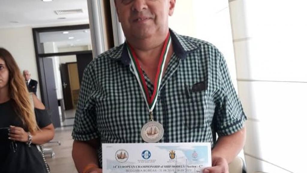Славейко Петров със сребро от Европейско първенство за настолни корабни модели