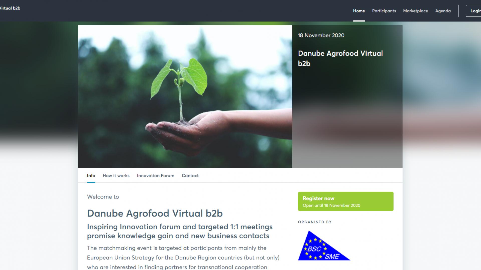 Покана за  Иновационен форум и бизнес срещи  в сектор храни и селско стопанство